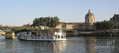 Sightseeing Boat On River Seine. Paris Art Print by Bernard Jaubert