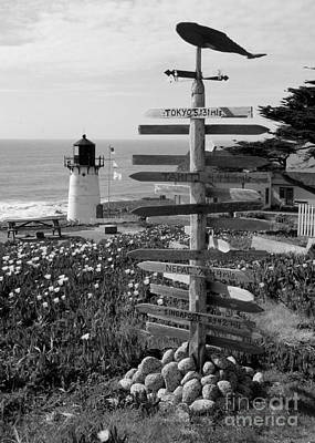 Photograph - Sign At Point Montara - Black And White by Carol Groenen