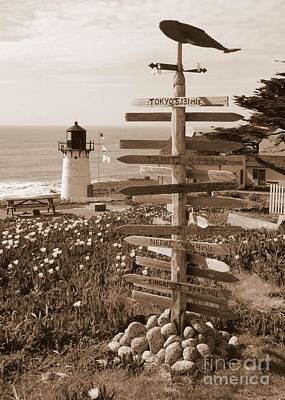 Photograph - Sign At Point Montara Lighthouse - Sepia by Carol Groenen