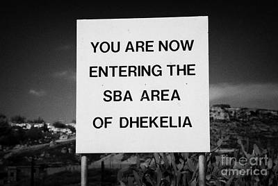 sign marking entrance of SBA Sovereign Base area of Dhekelia in the british controlled cyprus Art Print by Joe Fox