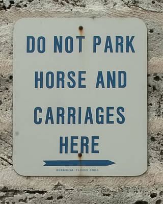 Photograph - Sign No Parking Horse And Carriage by Michael Flood