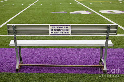 Sign On Athletic Field Bench Art Print