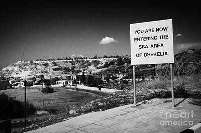 sign overlooking pyla and turkish controlled territory marking entrance of SBA Sovereign Base area Art Print by Joe Fox