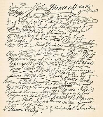 Signatures Attached To The American Declaration Of Independence Of 1776 Art Print by Founding Fathers