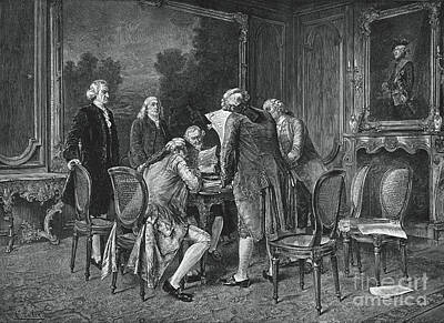 Signing Treaty Of Peace, 1782 Art Print by Photo Researchers