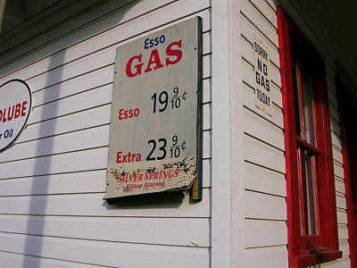 Signs On A Historic Gas Station Offer Art Print by Amy White & Al Petteway