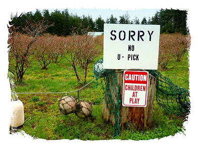 Photograph - Signs Upick Children by Cindy Wright