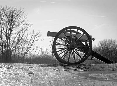 Photograph - Silent Cannon In Winter Black And White by Judi Quelland