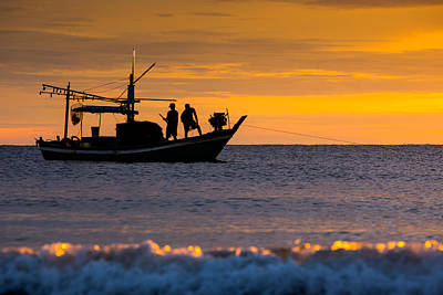 Silhouette Fisherman On Boat In Sunset Huahin Art Print by Arthit Somsakul