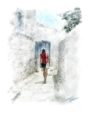 silhouette in Cyclades Art Print