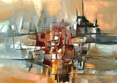 Painting - Silhouette Of A City Is Reflected In The Lake by Ben Rotman