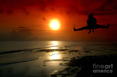 Hood Ornaments And Emblems - Silhouette Of A Man Jumping With Sunrise Baground by Antoni Halim