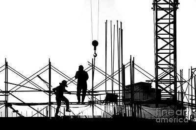 Silhouette Of Construction Site Art Print