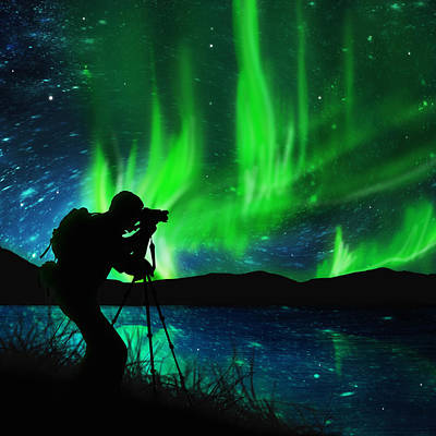 Tripods Photograph - Silhouette Of Photographer Shooting Stars by Setsiri Silapasuwanchai