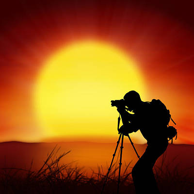 Tripod Photograph - Silhouette Of Photographer With Big Sun  by Setsiri Silapasuwanchai