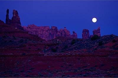 Moonlit Night Photograph - Silhouette Of Rocks Against Moonlit by Don Hammond