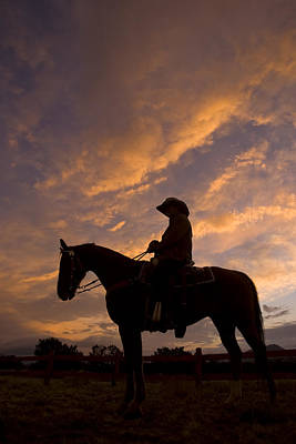 Working Cowboy Photograph - Silhouetted Cowboy Actor On Horseback by Ralph Lee Hopkins
