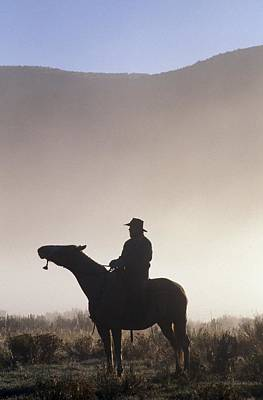 Western Pleasure Photograph - Silhouetted Cowboy On Horseback In Fog by Natural Selection Craig Tuttle