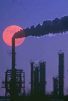 Factory Photograph - Silhouettes Of Factory Smokestacks And Moon At Dusk by VisionsofAmerica/Joe Sohm
