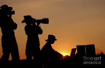 Videographer Photograph - Silhouettes Of Three U.s. Air Force by Stocktrek Images