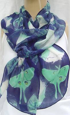 Morgansilk Tapestry - Textile - silk chiffon scarf Luna Moth on Datura by Morgan Silk