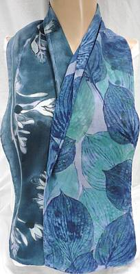 Morgansilk Tapestry - Textile - silk scarf crepe Deep Hosta by Morgan Silk