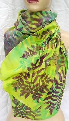 Morgansilk Tapestry - Textile - Silk Scarf Large Ferns Chartreuse Purple by Morgan Silk