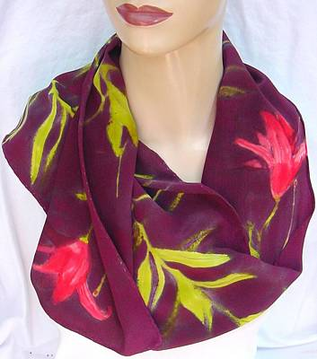 Morgansilk Tapestry - Textile - Silk Scarf Tiger Lily Deep Burgundy by Morgan Silk