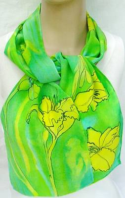 Morgansilk Tapestry - Textile - silk scarf Yellow Lily Fresh Green crepe by Morgan Silk