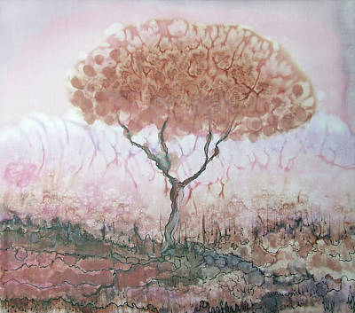 Painting - Silk Tree In Brown And Purple  by Rachel Hershkovitz