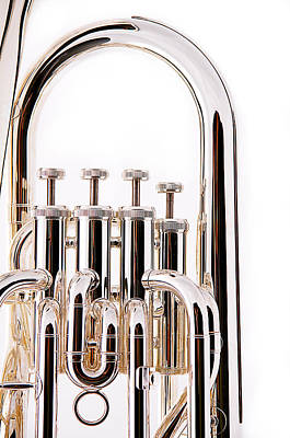 Euphonium Photograph - Silver Bass Tuba Euphonium On White by M K  Miller