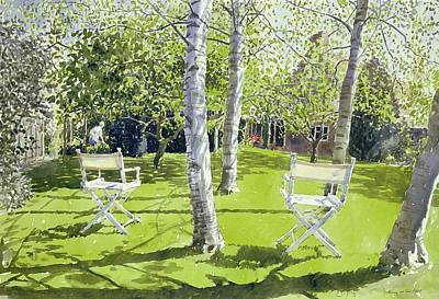 Deck-chairs Painting - Silver Birches by Lucy Willis