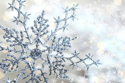 Snowy Night Photograph - Silver Blue Snowflake  by Sandra Cunningham