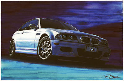 Art Print featuring the painting Silver Bmw M3 by Rod Seel