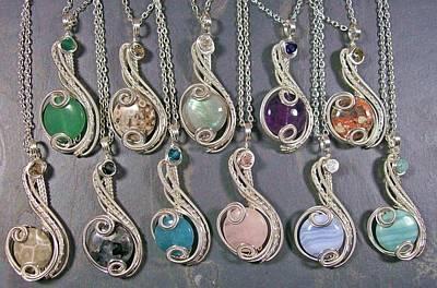 Blue Labradorite Jewelry - Silver Coriolis Pendants by Heather Jordan