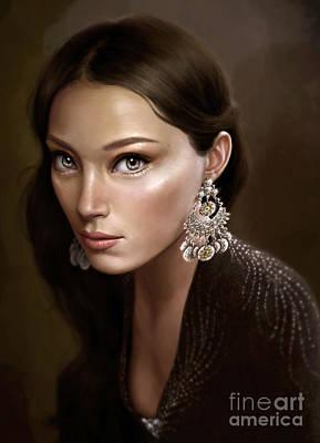 Female Portrait Painting - Silver by Doris Mantair