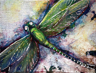 Silver Dragonfly Art Print