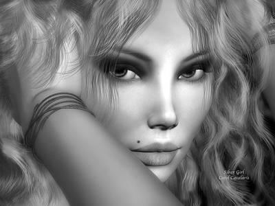Portrait Of Woman Mixed Media - Silver Girl by Carol Cavalaris