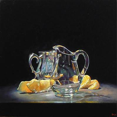 Silver Pitcher Painting - Silver Glass Oranges by Jeffrey Hayes