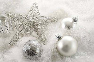 Indoor Photograph - Silver Holiday Ornaments In Feathers by Sandra Cunningham