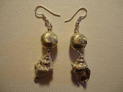Silver Seashell Dangle Earrings Art Print