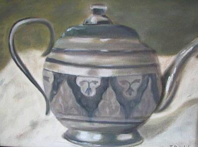 Silver Tea Kettle Art Print by Iris Nazario Dziadul