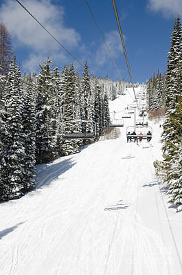 Snow Photograph - Silverstar Comet Express Chair Lift Silver Star Resort Vernon Bc Canada by Andy Smy