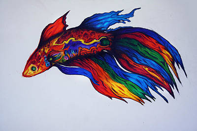 Koi Drawing - Simese Fighting Fish - Betta by Ricky Sandoval
