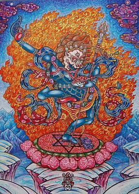 Tantra Drawing - Simkhamukha The Dakini by Lana Arcadeva