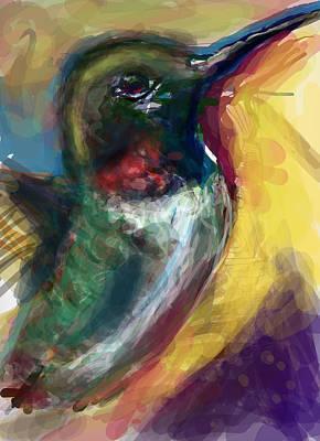 Abstract Hummingbird Digital Art - Simple Sugar Will Do by James Thomas