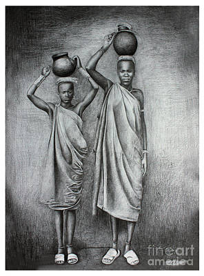 Tribal Women Drawing - Simplicity by Madhu Kuruva