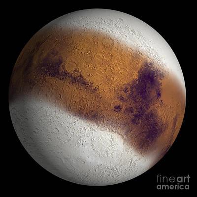 Digital Art - Simulated View Of Mars by Stocktrek Images