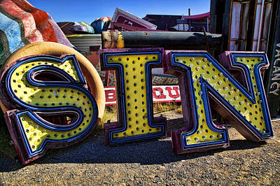 Junk Photograph - Sin Sign by Garry Gay