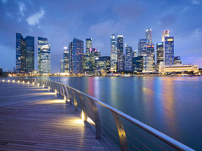 Singapore Skyline Seen Over Marina Bay Art Print by Travelpix Ltd